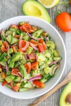 Tomato Avocado Salad: 1 lb Roma tomatoes 1 English cucumber 1/2 medium red onion, sliced 2 avocados, diced 2 Tbsp extra virgin olive oil or sunflower oil Juice of 1 medium lemon (about 2 Tbsp) 1/4 cup (1/2 bunch) cilantro, chopped* 1 tsp sea salt or 3/4 tsp table salt 1/8 tsp black pepper *Note: if you aren't keen on cilantro, fresh dill is a good substitute