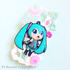 Custom Kawaii Decoden Vocaloid Hatsune Miku phone case for iPhone 4/4s, 5, samsung galaxy S2 S3 S4, Ipod Touch on Etsy, $23.00