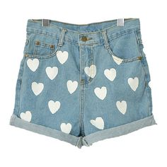 Roll Up Hem Denim Shorts with Contrast Heart Print ($26) ❤ liked on Polyvore This would look cute with a plain tank top or Tshirt.
