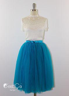 New to CestCaNY on Etsy: Colette - Tulle Skirt Teal Tulle Skirt Soft Tulle Skirt Tea Length Tutu Layered 4-layersTulle Skirt Dance Skirt Bridasmaids Skirt (79.00 USD)
