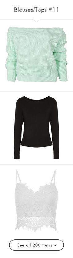 """""""Blouses/Tops #11"""" by maarij ❤ liked on Polyvore featuring tops, sweaters, shirts, crop top, cropped sweaters, waffle sweater, green sweater, green shirt, jumpers sweaters and black"""