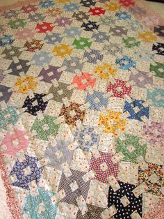 Vintage Patchwork Quilt top Hand sewn Country Home. $400.00, via Etsy.