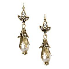 Sweet Romance Lily Flower Pearl Wedding Earrings Women's