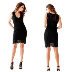 Guess Crocheted Black Sparkle Mini Dress Brand 🆕 with tags! Never worn black sparkle dress from Guess! Size medium. Dress comes with attached black slip so it is not see through. Loved the dress but it didn't fit me. Super hot 💋 Willing to negotiate. Make me an offer! Guess Dresses Mini