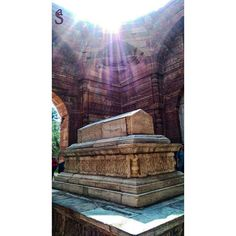Rays Of Light Shinning The Tomb Photo Credit: @ammuupbabu THE TOMB OF ILTUTMISH ______________________________________ The tomb of theDelhi Sultanate ruler Iltutmish the second Sultan of Delhi (r. 12111236 AD) built 1235 CE is also part of the Qutb Minar Complex in Mehrauli New Delhi. The central chamber is a 9 mt. sq. and has squinches suggesting the existence of a dome which has since collapsed. The main cenotaph in white marble is placed on a raised platform in the centre of the chamber…