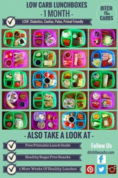 Low Carb Kids 6 :: 1 month of school lunchbox ideas. These are are all low carb, gluten free, grain free, no added sugar, healthy and nutritious. Suitable for diabetics and coeliacs. Many are Paleo, Primal and all are LCHF. Take a look at my series on Low Carb Kids.