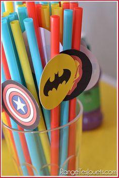 Pailles Super Héros - Printable   Déco anniversaire Super Héros
