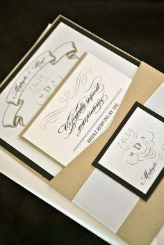Gold and black formal wedding invitations