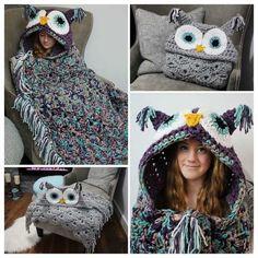 Crochet Owl Hooded Blanket Video Tutorial Included Crochet Owl Blanket Pattern, Quick Crochet Blanket, Crochet Owl Hat, Crochet Hooded Scarf, Owl Crochet Patterns, Fleece Patterns, Chunky Crochet, Crochet Animal Hats, Kids Crochet