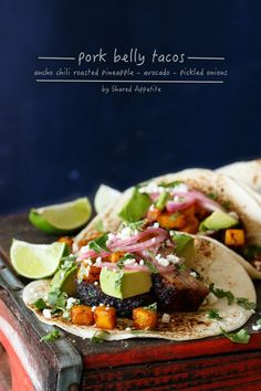 Pork Belly Tacos with Ancho Chili Roasted Pineapple, Avocado, and Pickled Onions. Awesome cinco de mayo recipe everyone will love. Mexican Dishes, Mexican Food Recipes, Dinner Recipes, Hawaiian Recipes, Carnitas, Quesadillas, Tostadas, Burritos, Enchiladas
