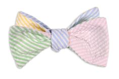 This is how Keith makes sure to match his girls' seersucker dresses.  High Cotton   Seersucker Four Way Bow Tie