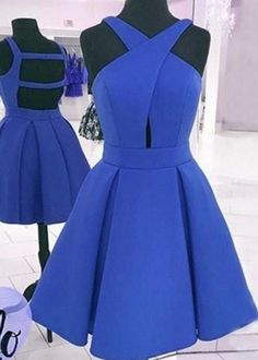 Sexy Open back Homecoming Dress,Royal Blue Prom Dress,Short Party Dress