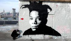 quand un artiste en représente un autre, ça peut donner ça. Jef Aerosol - Basquiat - Brooklyn 2010