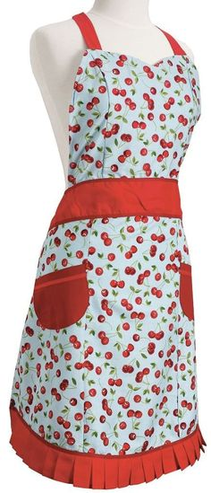 This charming, pretty and cute vintage Cherries kitchen women's Apron features a light blue apron with red cherries, red pleated bottom trim, red neck tie, and