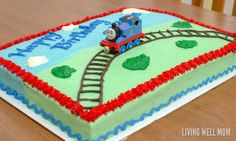 Thomas the Tank Engine Birthday Cake Cake Decorating – Thomas the Tank Engine Birthday Cake – Musings From a Stay At Home Mom Thomas Birthday Cakes, Thomas Birthday Parties, Thomas Cakes, Thomas The Train Birthday Party, 2 Birthday Cake, Trains Birthday Party, Birthday Cake Decorating, Boy Birthday, Thomas The Train Cakes