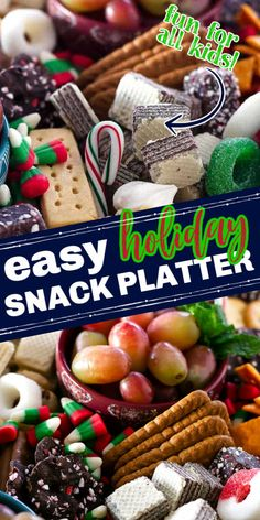 Put together a fun and festive Christmas Snack Platter for your holiday party. This easy party tray is filled with sweet and savory snacks that are perfect for kids of all ages! #christmasrecipes #holidayrecipes #cheeseboard #snackplatters Holiday Snacks, Christmas Snacks, Xmas Food, Holiday Appetizers, Holiday Parties, Christmas Fun, Holiday Recipes, Party Trays, Party Platters