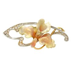 Georges Fouquet (French, orchid brooch, gold,... ❤ liked on Polyvore featuring jewelry, brooches, pearl diamond jewelry, gold diamond jewelry, .
