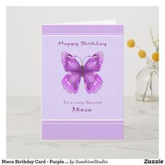 Niece Birthday Card - Purple Butterfly.  Cheerful Purple Butterfly Birthday Wishes. #birthdaycards #niece #aunt #happybirthday #happybirthdayquotes #birthdaygifts #birthday