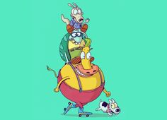 """Best Friends"" - Threadless.com - Best t-shirts in the world  One of my favorite shows growing up as I kid. I have a few 90s themed days planned with my best friend, where we will watch our favorite 90s Nicktoons, including Rocko!"