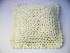 Funda Almohadón Crochet White Cream por VioletaMarket en Etsy