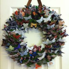 Recycled Christmas card wreath to leave up all year!! Love mine!!