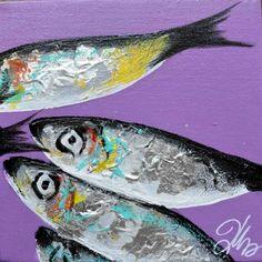 TABLEAU PEINTURE sardines deco cuisine poissons mer Marine - peinture sardines