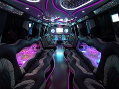 Awesome shot. Inside of a party limo complete with disco lights, music and drinks! Orange County & LA Limo