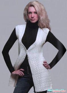 Удлиненный жилет,  вязанный спицами Drops Design, Chrochet, Rubrics, Beautiful Hands, Hand Knitting, Elsa, High Neck Dress, Sweaters, Dresses