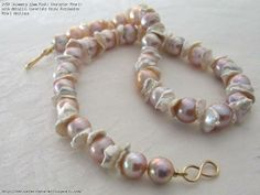 Shimmery 11mm Pinks Character Pearls with Metallic Cornflake Keshi Freshwater Pearl Necklace