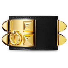 c458e215705 Hermes Black Leather Collier de Chien Bracelet with Gold Plated Clasp    Hardware. This Hermes Collier de Chien Bracelet in Black full-grain leather