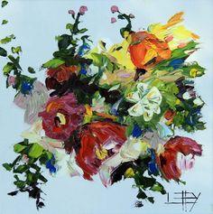 Dancing Flowers (#426) - Palette Knife art, modern impressionism oil paintings on canvas by award winning San Francisco bay area artist Lisa Elley.