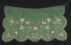 Apron      Category:      Textiles (Clothing)     Place of Origin:      England, United Kingdom, Europe     Date:      1725-1775     Materials:      Silk; Metal     Techniques:      Embroidered     Museum Object Number:      1966.1125