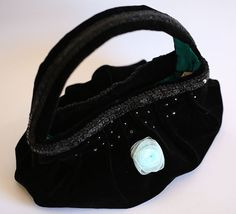 Black velvet cocktail purse with Tiffany blue rose & silk satin lining by MooshiMode, $145.00