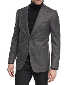 Tom Ford Prince of Wales Plaid Wool Jacket Neiman Marcus Store, Gray Jacket, Suit Jacket, Tom Ford Jacket, Travel Blazer, Tom Ford Men, Prince Of Wales, Sport Coat, Mens Suits