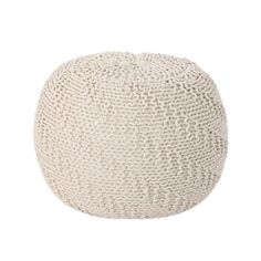 Noble House Hershel Beige Knitted Cotton Pouf 41660 - The Home Depot