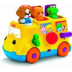 Ônibus Surpresa Pedagógico Fisher-Price, este item novo é muito fofo! São 3 atividades diferentes: alavanca, botão e chave giratória. A criança é recompensada com músicas e sons de animais.