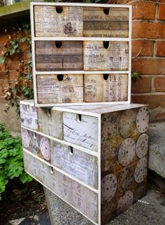 Mixed Media, Paper Crafting, Watercolour, Altered Art, and occasional Dollshouses Decoupage Furniture, Paint Furniture, Home Decor Furniture, Furniture Makeover, Diy Arts And Crafts, Hobbies And Crafts, Home Crafts, Matchbox Crafts, Inspiration Artistique