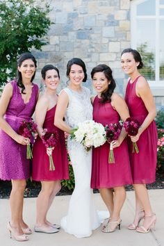 Mismatched berry red bridesmaid dresses | Photo by Sarah Bradshaw Photography