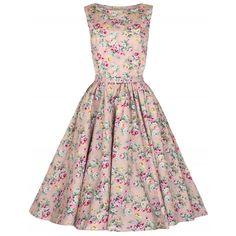 Audrey Peach Floral Swing Dress | Vintage Style Dresses - Lindy Bop