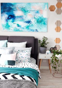 Bedroom Art: Contemporary modern bedroom styling in grey, white and turquoise blue with adairs bedding and scandi accessories. Original contemporary abstract art above the bed by Australian artist Kate Fisher. Turquoise Bedroom Decor, Home Decor Bedroom, Bedroom Ideas, Bedroom 2017, Blue Bedroom, Master Bedroom, Trendy Bedroom, Modern Bedroom, Bedroom Wall Art Above Bed