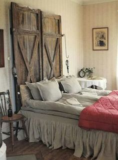 Headboard master bedroom, but put it up as a moveable barn door to cover windows at night!
