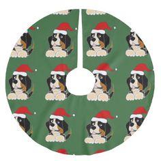 Bernese Mountain Dog Christmas Tree Skirt #BerneseMountain #dogs #Christmas #treeskirt #pets #funny And www.zazzle.com/petspower*