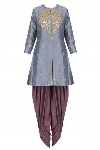 Dark Grey Thread Embroidered Kurta with Dhoti Pants Salwar Kameez, Dhoti Salwar Suits, Sharara, Patiala, Churidar, Anarkali, India Fashion, Suit Fashion, Fashion Dresses