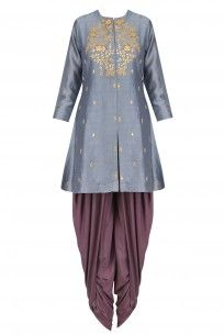 Dark Grey Thread Embroidered Kurta with Dhoti Pants #K-anshikajaipur #perniaspopupshop #shopnow #happyshopping
