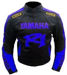 New Handmade Yamaha YZF-R1 Black Motorbike Leather Jacket Men - Outerwear