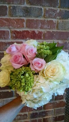 Pink and white with mini green hydrangea