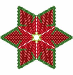 Christmas Poinsettia Star 2, Geometric Beading Pattern or Tutorial This is an intermediate to advanced pattern for those that know how to make a warped square and join them into a star. Perfect for your Christmas Tree Make your own beautiful piece of art from 11/0 delicas. This is a
