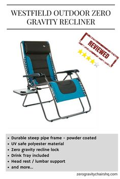[REVIEW] Westfield Outdoor Zero Gravity Recliner   Durable Steep Pipe Frame    Powder Coated