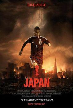 イタリア人デザイナーが名作映画とW杯出場国の合体ポスターを制作 日本は本田のゴジラ