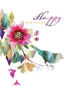 Лара Скиннер - LD949_Brights На White_birthday Геометрическая Цветочный Bird.2 на ветке